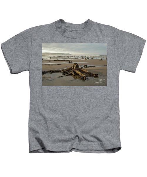 Bronze Age Sunken Forest At Borth On The West Wales Coast Uk Kids T-Shirt