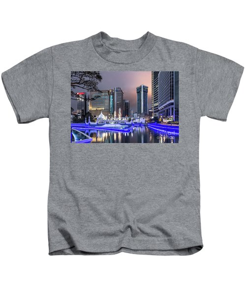 The Office Buildings Reflects In The Water Of The Klang River In Kids T-Shirt