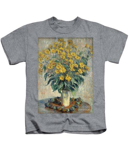 Jerusalem Artichoke Flowers Kids T-Shirt by Claude Monet