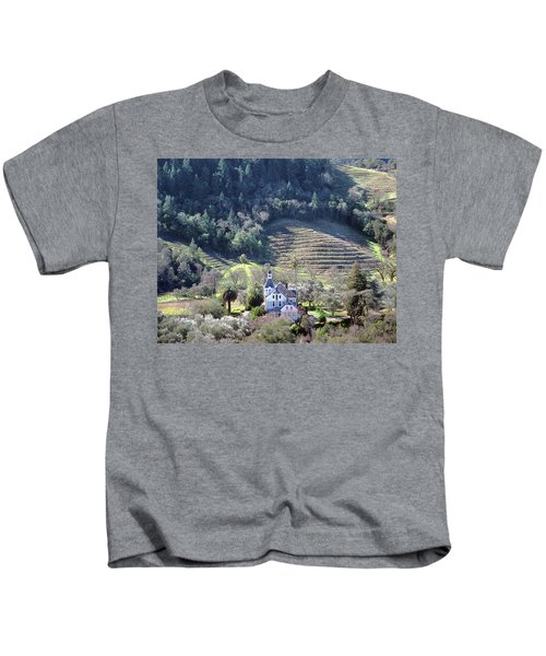 6b6312 Falcon Crest Winery Grounds Kids T-Shirt
