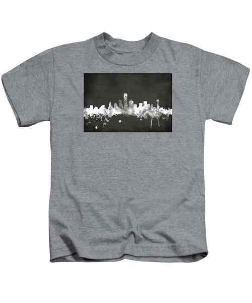 Dallas Texas Skyline Kids T-Shirt by Michael Tompsett