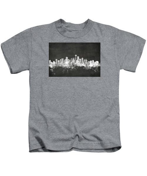 Seattle Washington Skyline Kids T-Shirt by Michael Tompsett