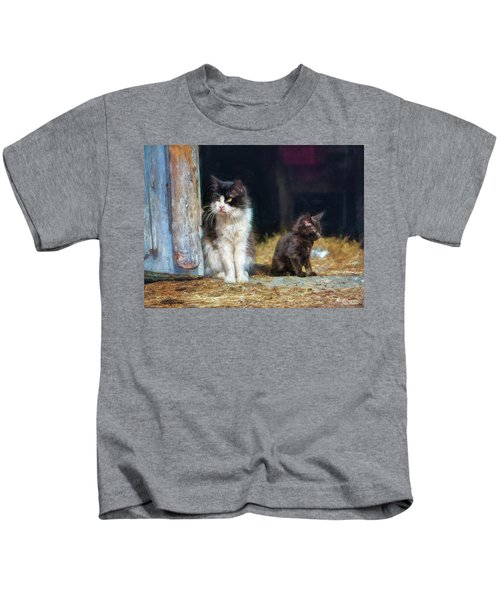A Day In The Life Of A Barn Cat Kids T-Shirt
