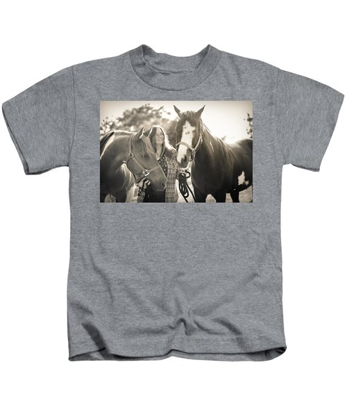 A Girl And Horses In The Sun Sepia Kids T-Shirt