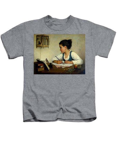 A Girl Writing. The Pet Goldfinch Kids T-Shirt
