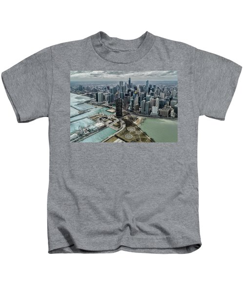 A Helicopter View Of Chicago's Lakefront Kids T-Shirt
