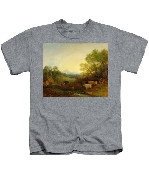 A Landscape With Cattle And Figures By A Stream And A Distant Bridge Kids T-Shirt