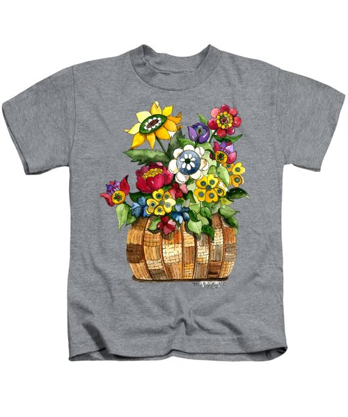 A Lovely Basket Of Flowers Kids T-Shirt