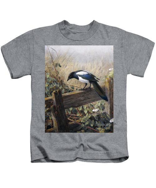 A Magpie Observing Field Mice Kids T-Shirt
