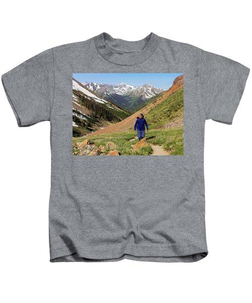 A Man Hiking The Silver Creek Trail Kids T-Shirt