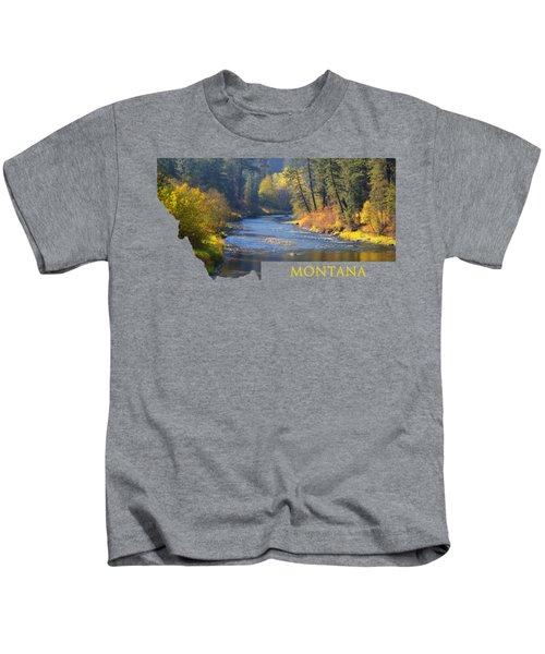 A River Runs Thru Autumn Kids T-Shirt