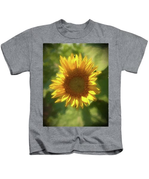 A Single Sunflower Showing It's Beautiful Yellow Color Kids T-Shirt
