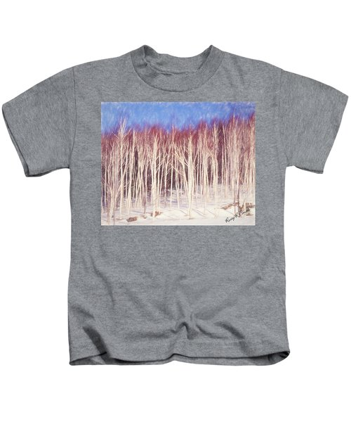 A Stand Of White Birch Trees In Winter. Kids T-Shirt