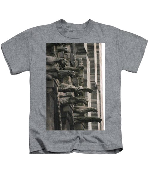 A Wall Of Gargoyles Notre Dame Cathedral Kids T-Shirt