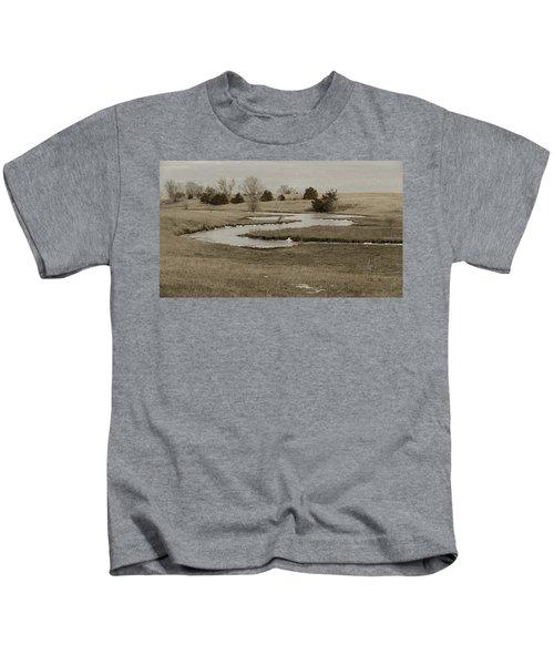 A Winding Creek In Winter As Geese Fly Overhead Kids T-Shirt