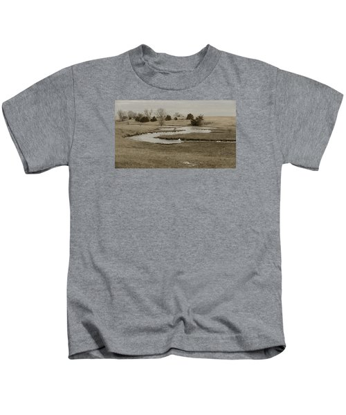 A Winding Creek In Winter As Geese Fly Overhead Kids T-Shirt