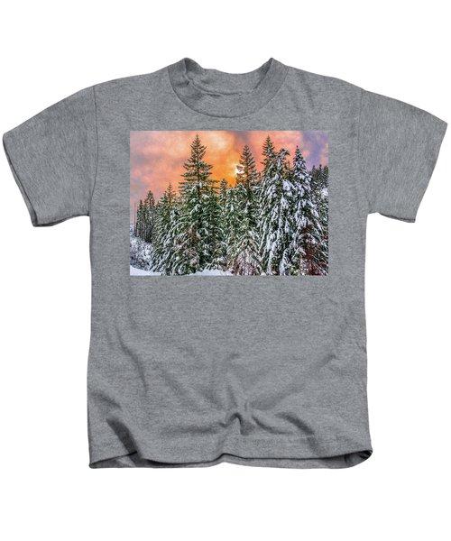 A Winters Sky Set Ablaze Kids T-Shirt