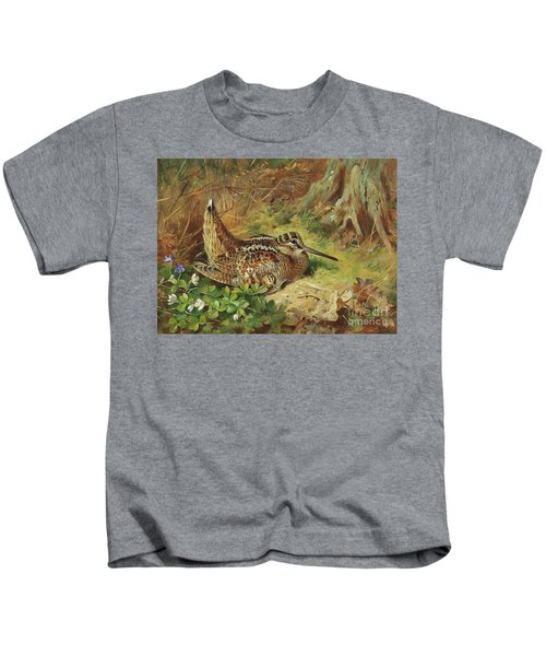 A Woodcock And Chicks Kids T-Shirt by Archibald Thorburn