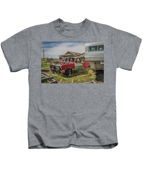Abandoned Car And Trailer In The Ghost Town Of Cisco, Utah Kids T-Shirt