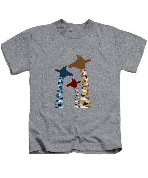 Abstract Colored Giraffe Family Kids T-Shirt by Brigitte Carre