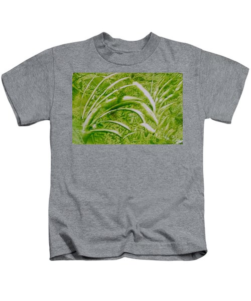Abstract Green And White Leaves And Grass Kids T-Shirt