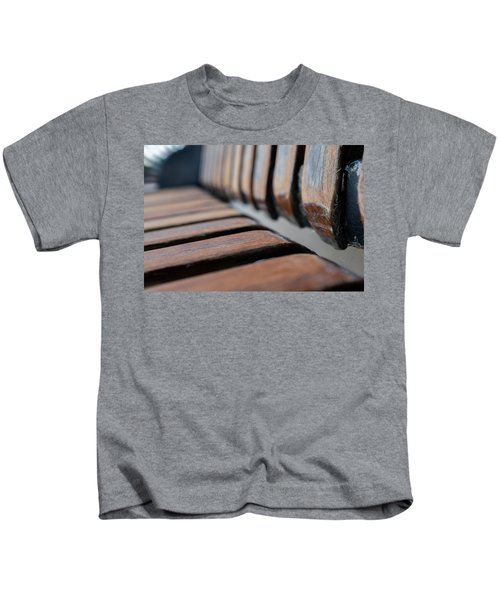 Abstract Image Of A Park Bench Near The Water In Green Bay Wisconsin Kids T-Shirt