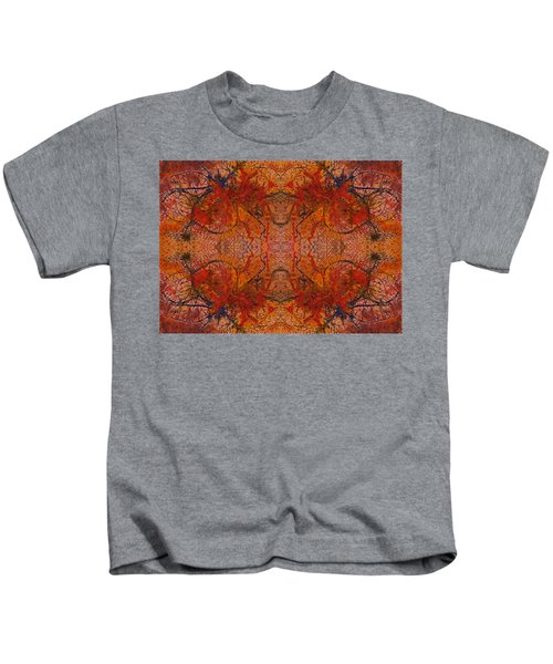 Aflame With Flower Quad Hotwaxed Version Of Acrylic/watercolour Kids T-Shirt
