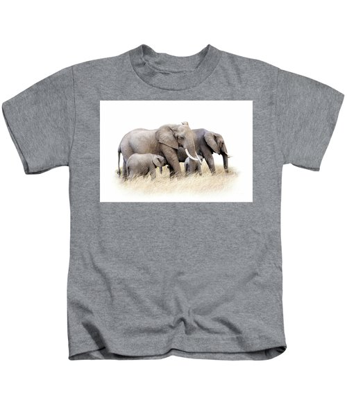 African Elephant Group Isolated Kids T-Shirt