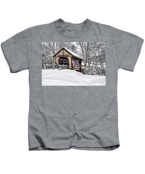 After A Winter Snow Storm Cilleyville Covered Bridge  Kids T-Shirt