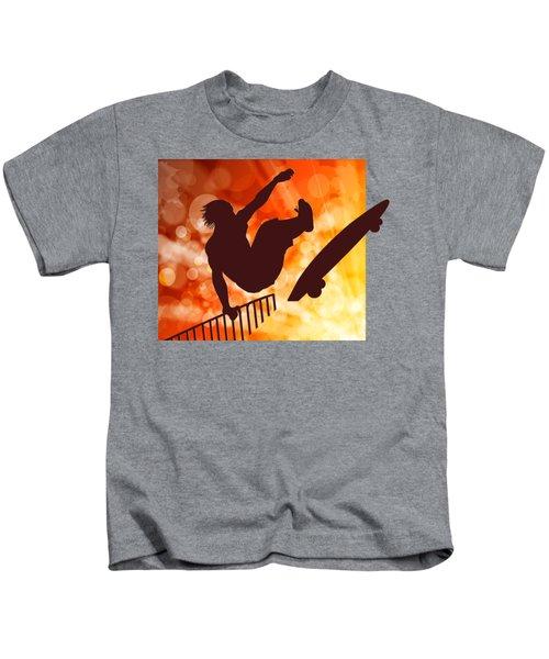 Airborne Skateboarder Silo Red Orange And Yellow Bokkeh Kids T-Shirt