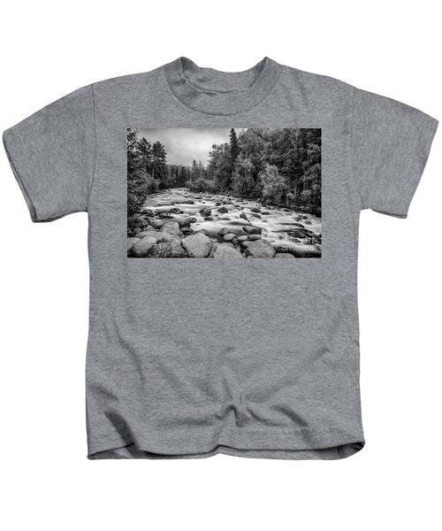Alaskan Stream In Black And White Kids T-Shirt