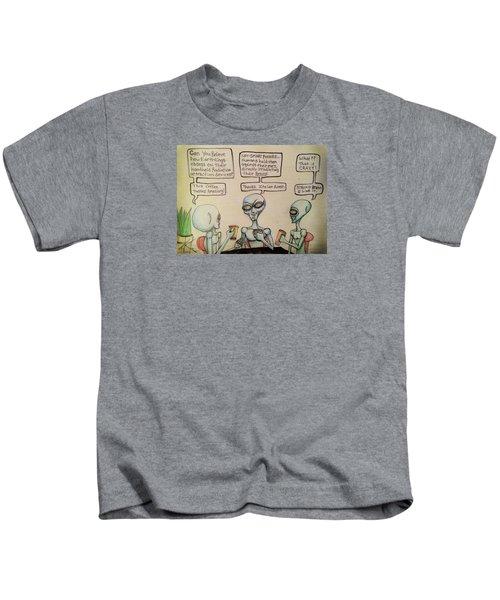 Alien Friends Coffee Talk About Cellular Kids T-Shirt