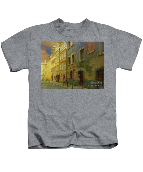 All Downhill From Here - Prague Street Scene Kids T-Shirt