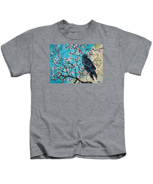 Almond Branch And Raven Kids T-Shirt