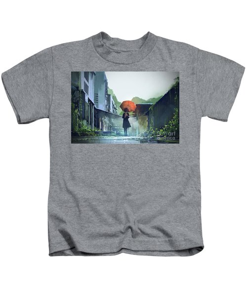 Kids T-Shirt featuring the painting Alone In The Abandoned Town by Tithi Luadthong