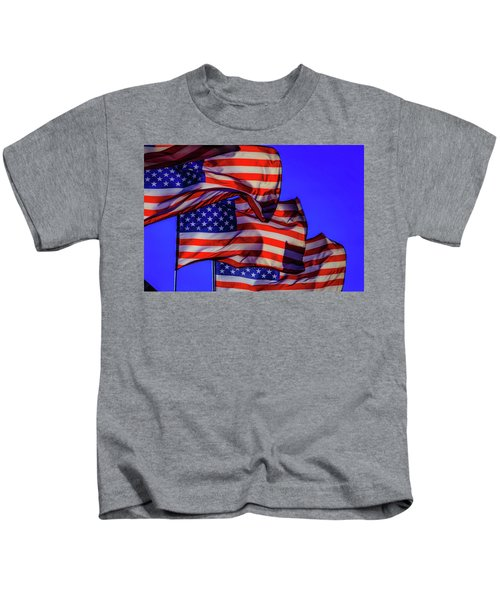 American Flags Waving Kids T-Shirt