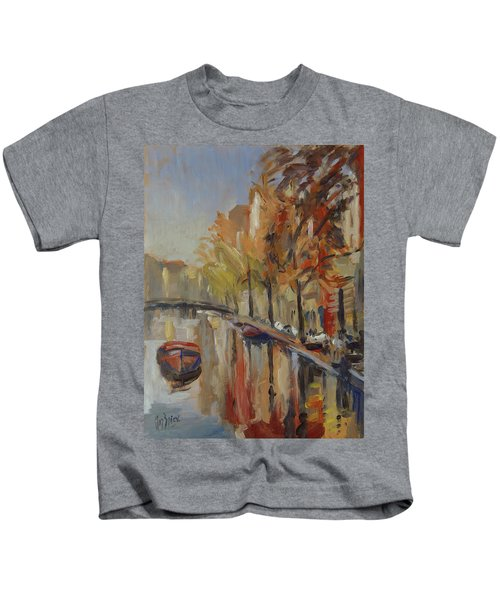 Amsterdam Autumn With Boat Kids T-Shirt
