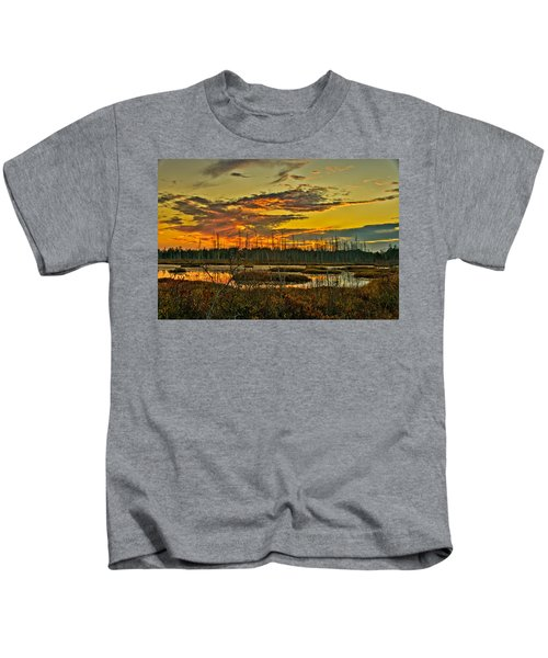 An November Sunset In The Pines Kids T-Shirt
