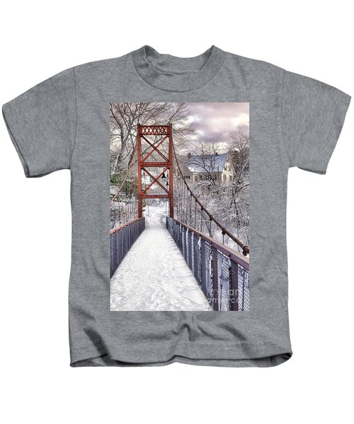 Androscoggin Swinging Bridge And Yellow House In Winter Kids T-Shirt