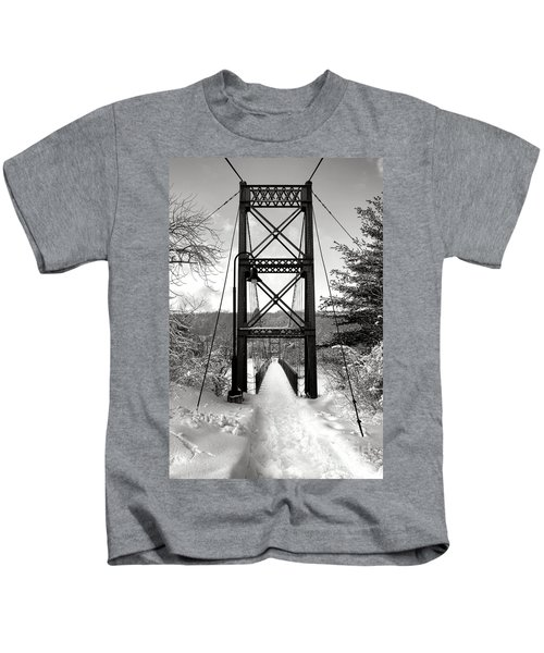 Androscoggin Swinging Bridge In Winter Kids T-Shirt