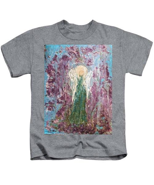 Angel Draped In Hydrangeas Kids T-Shirt