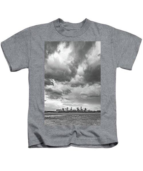 Approaching Spring Thunderstorm 3 Bw Kids T-Shirt