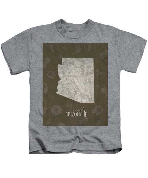 Arizona Map Music Notes 3 Kids T-Shirt