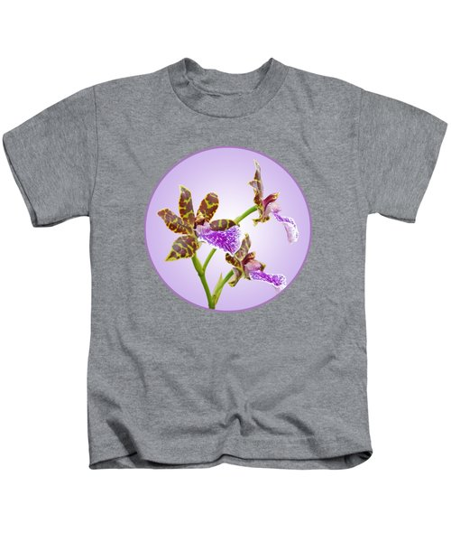 Bold And Beautiful - Zygopetalum Orchid Kids T-Shirt by Gill Billington