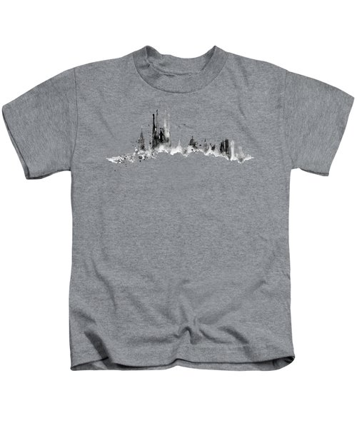 White Barcelona Skyline Kids T-Shirt by Aloke Creative Store