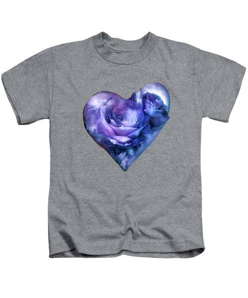 Heart Of A Rose - Lavender Blue Kids T-Shirt