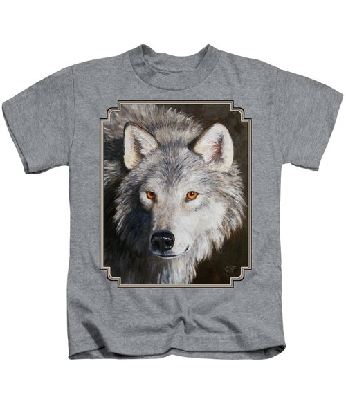 Wolf Portrait Kids T-Shirt by Crista Forest