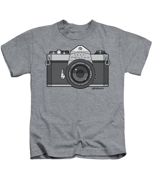 Asahi Pentax 35mm Analog Slr Camera Line Art Graphic Gray Kids T-Shirt
