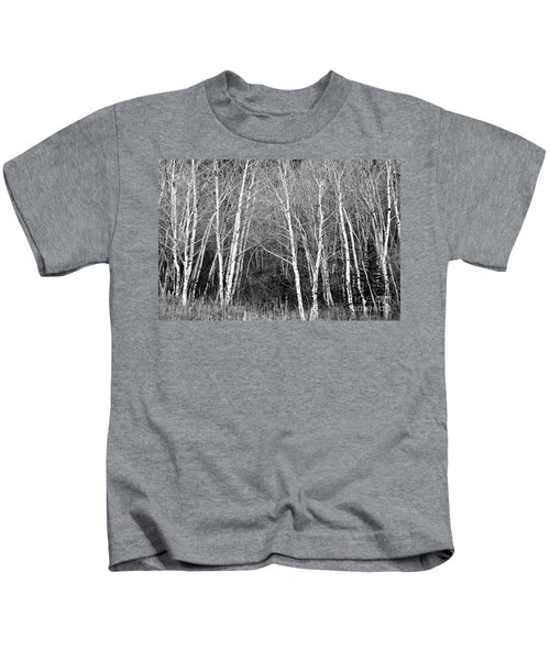 Aspen Forest Black And White Print Kids T-Shirt