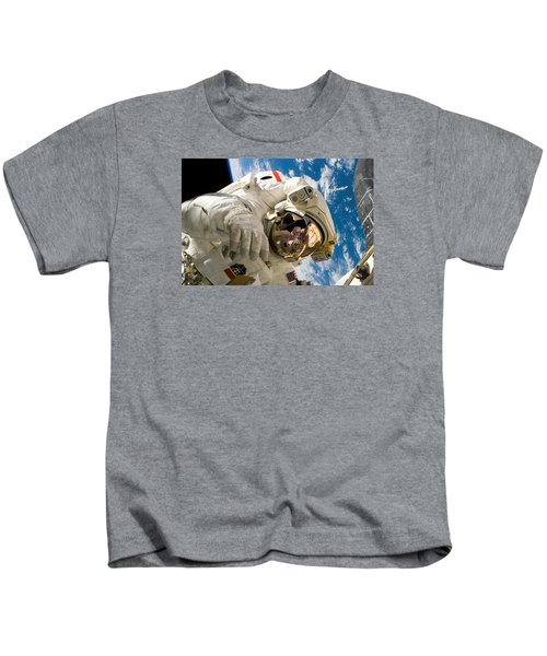 Astronaut During The Third Spacewalk Of Sts-121 Kids T-Shirt
